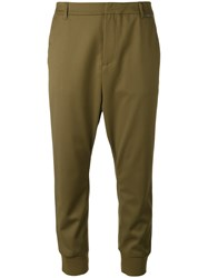 Twin Set Cropped Trousers Women Polyester Viscose Spandex Elastane 38 Green