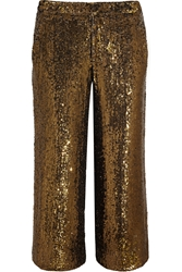 J.Crew Collection Cropped Sequined Silk Wide Leg Pants