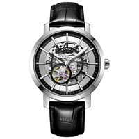 Rotary 'S Greenwich Skeleton Leather Strap Watch Black Silver Gs05350 02