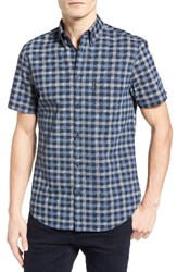 Ben Sherman Men's Mod Fit Check Sport Shirt Navy Blaze