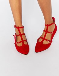 Truffle Collection Nicky T Bar Strappy Point Flat Shoes Red Mf