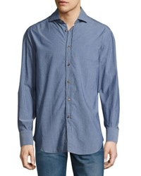 Brunello Cucinelli Chambray Button Front Shirt Denim
