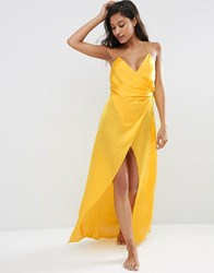 Asos Ruched Side Satin Maxi Slip Yellow