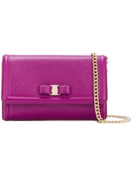 Salvatore Ferragamo Vara Cross Body Bag Women Calf Leather One Size Pink Purple