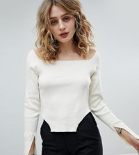 Milk It Vintage Square Neck Ribbed Top Cream