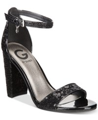 G By Guess Shantel Two Piece Sandals Women's Shoes Black Sequin