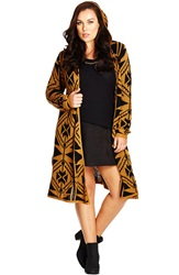 City Chic Geo Print Longline Hooded Cardigan Plus Size Toffee