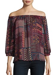 Romeo And Juliet Couture Mixed Print Off The Shoulder Top Burgundy