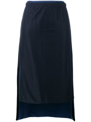 Dkny Pull On Skirt Women Spandex Elastane Viscose M Blue