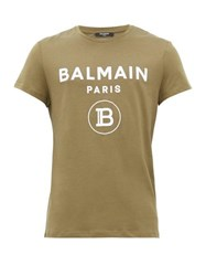 Balmain Flocked Logo Print Cotton T Shirt Khaki