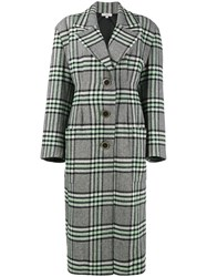 Natasha Zinko Single Breasted Wool Blend Tweed Coat Silk Polyamide Acetate Wool Green