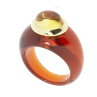 Andre Benitah Creations Paris Resin And Gold Cabochon Ring Toffee And Citrine