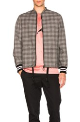 Lanvin Wool Prince Of Wales Racing Jacket In Gray Checkered And Plaid Gray Checkered And Plaid