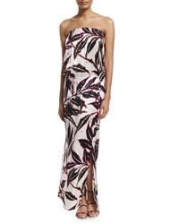 Marie France Van Damme Printed Sleeveless Maxi Dress Coverup Size 1 6 8 Rose Leaves