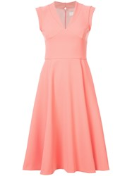 Christian Siriano V Neck Flared Dress Pink And Purple
