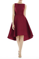 Alfred Sung High Low Cocktail Dress Burgundy