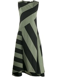 Odeeh Striped Asymmetric Dress Black