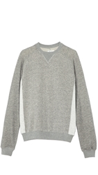 Shades Of Grey Contrast Panel Crew Neck Sweatshirt Light Heather Grey