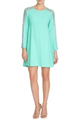 Women's Cece By Cynthia Steffe 'Asha' Lace Sleeve Crepe Trapeze Dress Aqua Frost