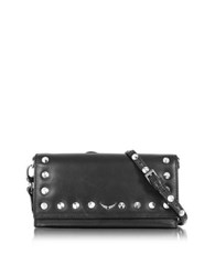 Zadig And Voltaire Black Blue Leather Voyager Wallet Clutch W Studs