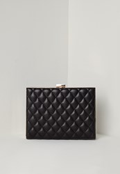 Missguided Quilted Metal Edge Clutch Bag Black