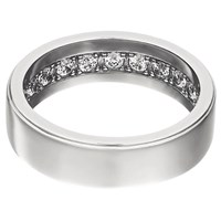 Openjart Sapphires Inside Men's Solid Wedding Ring White Gold