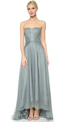Monique Lhuillier Bridesmaids Strapless Sweetheart High Low Dress Sea