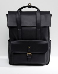 Asos Backpack In Black Faux Leather With Fold Over Top Black