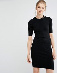 Y.A.S Boni Ribbed Bodycon Dress In Knit Black