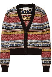 Saint Laurent Cropped Striped Cotton Blend Cardigan Red