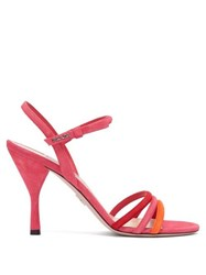 Prada Trio Strap Slingback Suede And Leather Sandals Pink Multi