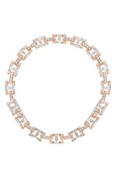 Steve Madden Faceted Stone Chain Collar Necklace Rose Gold