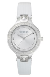 Versus By Versace Claremont Leather Strap Watch 32Mm White Silver