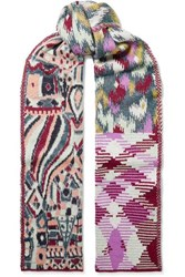 Missoni Patchwork Intarsia Knitted Scarf Purple