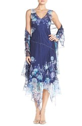 Petite Women's Komarov Floral Chiffon A Line Dress And Shawl Celestial Flower