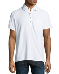 Ag Adriano Goldschmied Button Front Collar Polo White