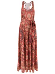Lygia And Nanny Abstract Print Long Dress Brown