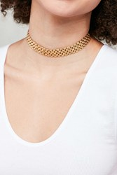 Urban Outfitters Metal Lattice Band Choker Necklace Gold