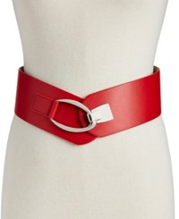 Inc International Concepts I.N.C. Interlocking Hook Stretch Belt Red Silver