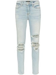 Amiri High Waisted Ripped Skinny Jeans Blue