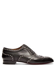 Christian Louboutin Charlie Clou Studded Leather Oxford Shoes Black Multi