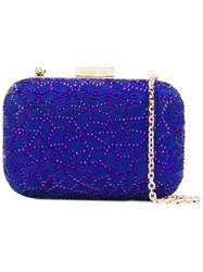 Sergio Rossi Crystal Embellished Clutch Blue
