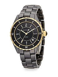 Saks Fifth Avenue Ceramic Round Goldtone Rotating Bezel Watch Black Gold