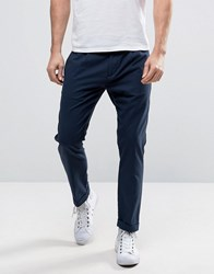 Sisley Cropped Trouser In Tapered Fit Navy 275