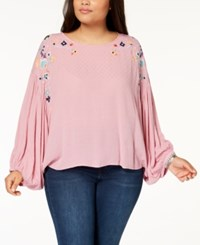 Eyeshadow Trendy Plus Size Embroidered Textured Top Rock Candy