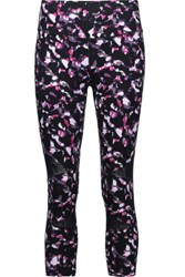 Yummie Tummie By Heather Thomson Leah Cropped Printed Mesh Trimmed Stretch Jersey Leggings Multi