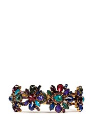 Erickson Beamon 'Hyperdrive' Swarovski Crystal Floral Cluster Bangle Multi Colour