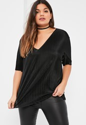 Missguided Plus Size Exclusive Black Pleated V Neck T Shirt
