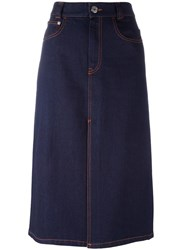 See By Chloe Denim Front Split Skirt Blue