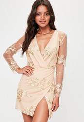 Missguided Nude Embroidered Mesh Long Sleeve Wrap Dress Beige